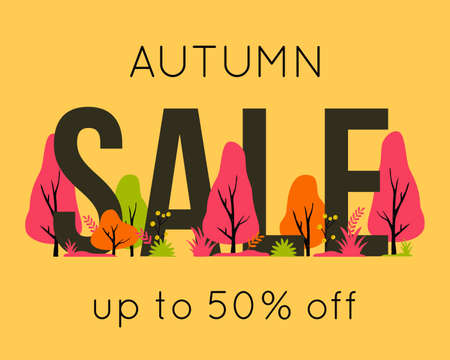 Vector trendy autumn sale banner for autumnal shopping season. Background with letters, trees and plants for shop discount card, voucher or advertising poster design