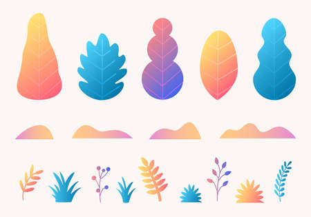 Vector set with trees, leaves, grass in trendy flat style design. Fantasy autumn nature plants template for banner, card, poster, print Stock Illustratie