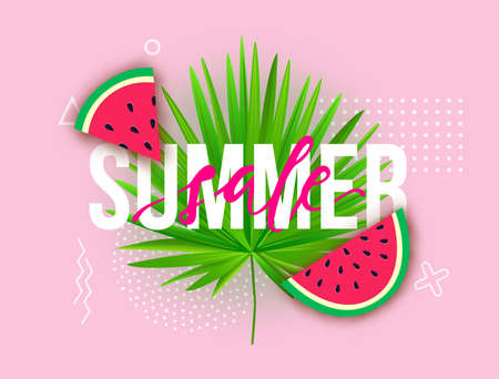 Vector Summer sale trendy illustration. Modern background with watermelon slices, tropical palm leaf and geometric elements.