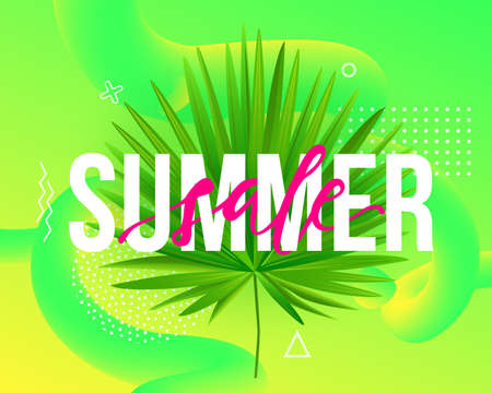 Vector Summer sale trendy illustration. Modern background with liquid fluid shapes, tropical palm leaf and geometric elements.