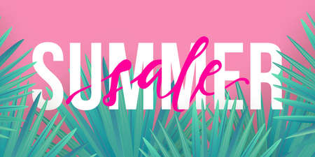 Vector Summer sale trendy banner. Modern colorful background with tropical palm leaves Ilustracja