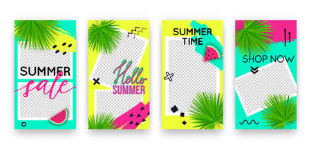 Vector trendy tropic editable set of templates for social media networks stories. Modern summer design backgrounds with watermelon and palm leaves for flyers, cards, posters, promotion