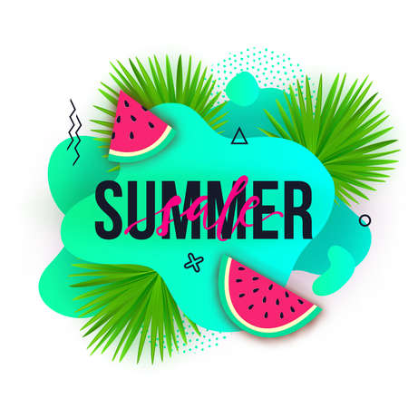 Vector Summer sale trendy banners. Modern backgrounds with liquid fluid elements, watermelons, tropical palm leaves and geometric elements.