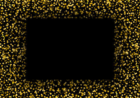 Vector template with gold glitter particles effect and square frame for luxury greeting rich card. Sparkling festive confetti. Star dust sparks in explosion on black background.
