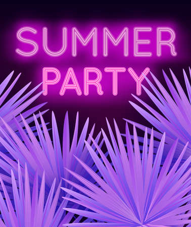Vector colorful modern illustration with neon lettering Summer Party and tropical palm leaves. Trendy night exotic background Ilustracja