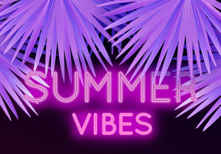 Vector colorful modern illustration with neon lettering Summer Vibes and tropical palm leaves. Trendy night exotic background Ilustracja