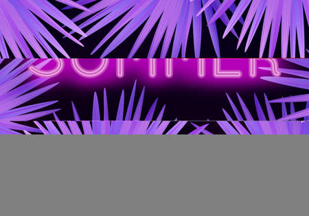 Vector colorful modern illustration with neon lettering Summer and tropical palm leaves. Trendy night exotic background Ilustracja