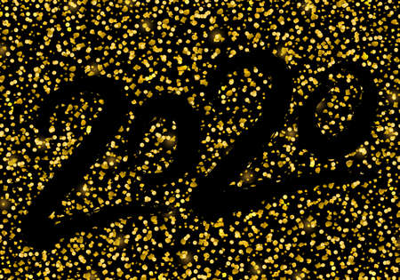 Vector golden luxury 2020 Happy New Year illustration with shining glitter confetti for greeting card, calendar, banner Ilustracja