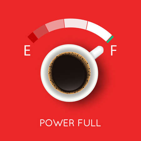 Vector illustration with coffee cup top view and Power Full concept. Creative poster with realistic mug and espresso for cafe design