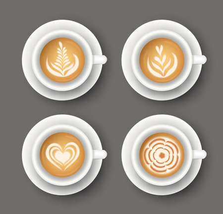 Vector set with realistic white cups with coffee. Collection of Latte art top view