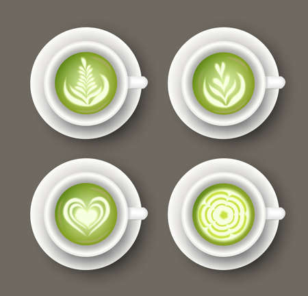 Vector set with realistic white cups with matcha latte drink. Top view of healthy hot green beverage. 3d template of mug with tea for cafe menu design, banner, poster Ilustracja