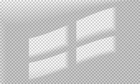 Ilustración de vector con superposiciones de sombras sobre fondo transparente. Sombras de marcos de ventanas para efectos de luz natural. Escena fotorrealista.