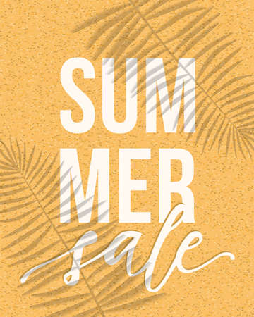 Vector summer sale banner design with realistic shadows of palm leaves on sand background. Illustration with trendy transparent shadow overlay effect.