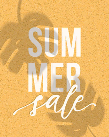 Vector summer sale banner design with realistic shadows of monstera leaves on sand background. Illustration with trendy transparent shadow overlay effect. Ilustracja