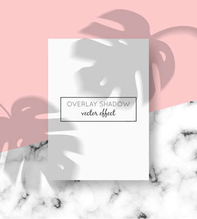 Vector A4 card mockup with shadow overlays on top and stone marble background. Organic shadows for natural light effects. Trendy photo-realistic illustration with monstera leaves