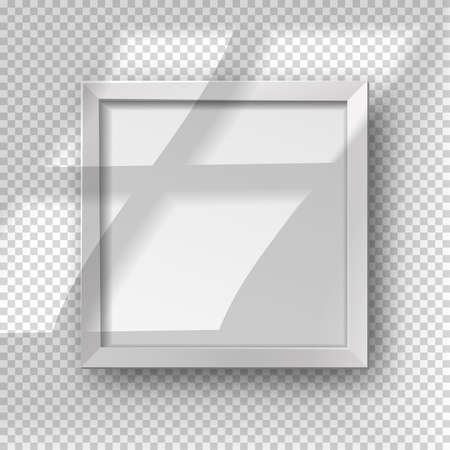Vector realistic square empty picture frame with window shadow overlay effect. Mockup template with white frame boarder isolated on transparent background.