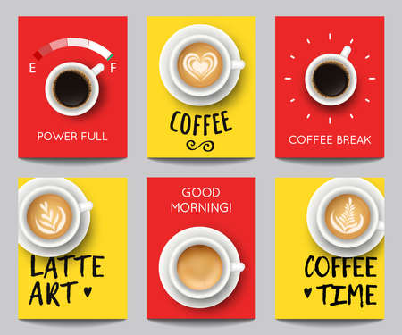 Vector set of modern posters with coffee backgrounds. Trendy templates with realistic cups for flyers, banners, invitations, restaurant or cafe menu design