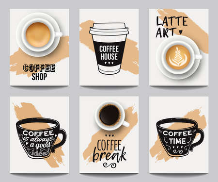 Vector set of modern posters with coffee backgrounds. Trendy templates for flyers, banners, invitations, restaurant or cafe menu design. Ilustracja