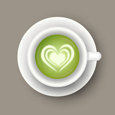 Vector realistic illustration of cup with matcha latte drink. Top view of realistic hot green beverage. 3d template of mug with tea for cafe menu design, banner, poster