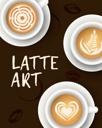 Vector illustration with realistic white cups with coffee. Collection of Latte art top view