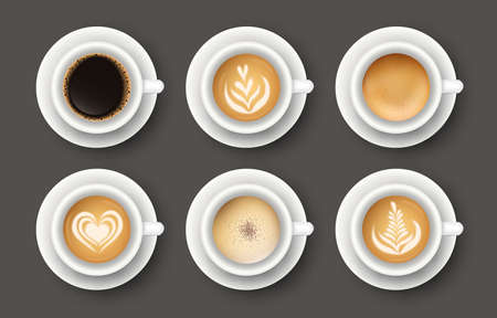 Vector set with 3d realistic different types of coffee in white cups. Collection of top views of mugs of cappuccino, latte, americano, espresso, cocoal for cafe menu design, poster, mock up.