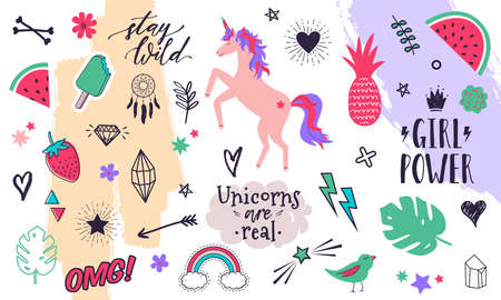Vector modern collection of decorative design elements hand drawn in trendy doodle style - fruits, animals, plants, symbols. Colorful vector set for with handwritten slogans or phrases for T-shirt prints, posters, banners