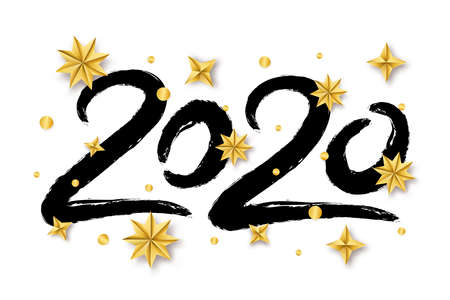 Vector illustration with 2020 hand written lettering with golden Christmas stars isolated on white background. Trendy Happy New Year greeting banner, poster or card design. Ilustracja