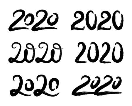 Vector set with hand drawn 2020 lettering designs isolated on white background. Collection of Happy New Year numbers