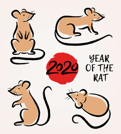 Vector set with hand drawn rats. Symbol Zodiac sign. Decorative elements for Chinese Happy New 2020 Year
