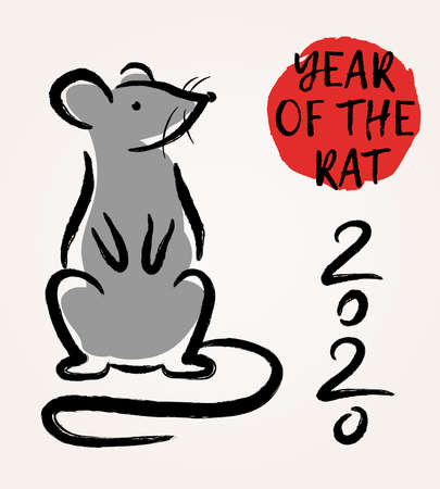 Vector illustration with Chinese Zodiac Sign -  Rat. Decorative mouse  - symbol of Happy 2020 New Year. Trendy greeting card, poster, banner