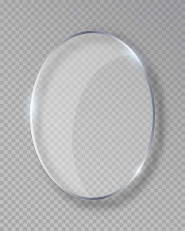 Cadre en verre brillant ovale de vecteur isolé sur faux fond transparent