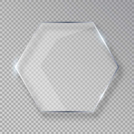 Vector hexagon shiny glass frame isolated on fake transparent background