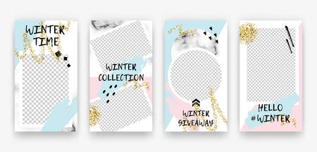 Vector trendy editable winter set of templates for social media network stories. Modern design backgrounds with geometric elements, snowflakes, golden glitter for flyers, cards, posters