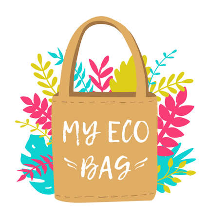 Vector illustration of reusable eco shopping bag. Zero waste and save the planet concept and lifestyle