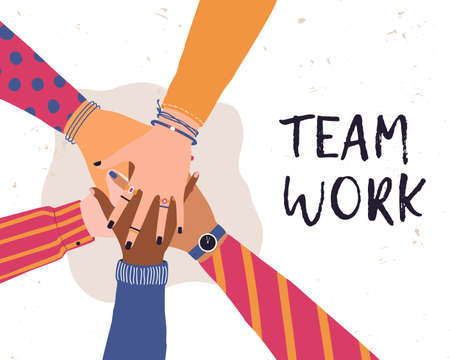 Vector trendy illustration with hands of diverse group of people putting together. Concept of friendship, cooperation, teamwork, partnership, agreement, movement. Illustration