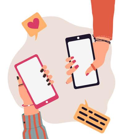 Vector trendy illustration of cartoon people hands using smartphones. Modern communication concept of arms holding mobile phone for application, mock up, flyer, presentation, business