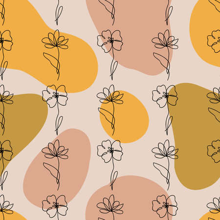 Vector seamless pattern of one line drawing abstract flowers and geometric liquid shapes. Hand drawn modern minimalistic design for fashion, print, textile Ilustracja