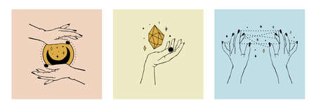 Vector set of cards of women's hands holding planet, moon, stars and crystal. Trendy linear and minimal boho tattoo style for logo, emblem, t-shirt fashion print, stickers, skin care or cosmetics branding