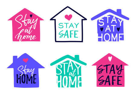 Vector set of houses and Stay Home, Stay Safe Lettering typography isolated on white. Trendy motivational stickers, signs, icons or symbols for self quarantine due to Coronavirus pandemia Vetores