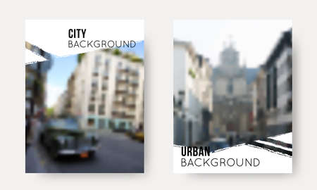 Vector Set of Blurred Urban Backgrounds. Collection of City unfocused templates for travel design, flyer, presentation, brochure, banner, poster