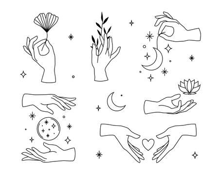 Vector set of female hand logos, icons in minimal linear style. Emblem design templates with hand gestures, moon, lotus, ginko leaf for cosmetics, manicure, beauty, tattoo, spa, jewelry store