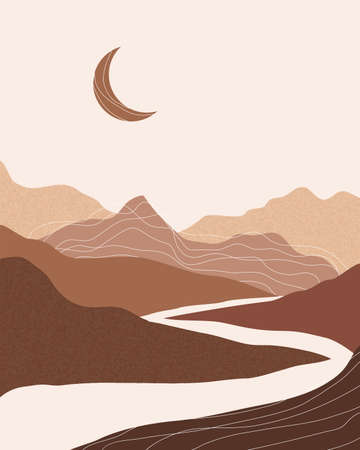 Vector abstract contemporary aesthetic night background landscape with mountains, moon, road. Boho wall textured print decor in flat style. Mid century modern minimalist art and design