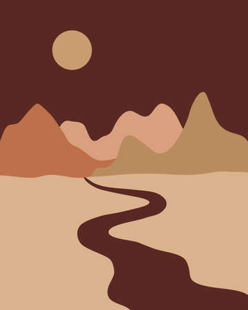 Vector abstract contemporary aesthetic background landscape with mountains, roads, sunrise, sunset. Boho wall print decor in flat style. Mid century modern minimalist art and design