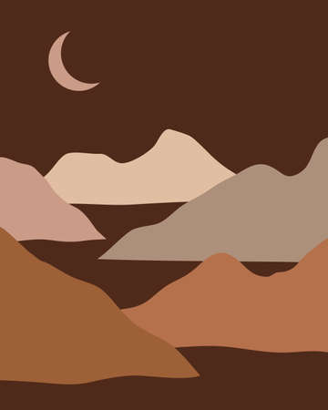 Vector abstract contemporary aesthetic night background landscape with mountains, road, moon. Boho wall print decor in flat style. Mid century modern minimalist art and design  イラスト・ベクター素材