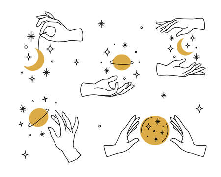 Vector set of female hand icons in minimal linear style. Emblem design templates with hand gestures, moon, stars and planet for cosmetics, manicure, beauty, tattoo, spa, jewelry store Vector Illustratie