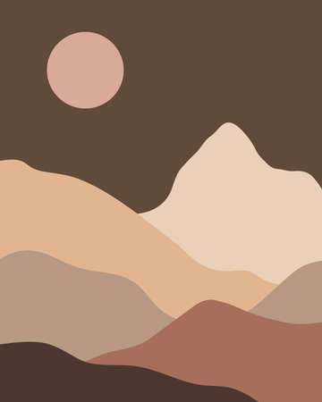 Vector abstract contemporary aesthetic night background landscape with mountains, sunset. Boho wall print decor in flat style. Mid century modern minimalist art and design  イラスト・ベクター素材