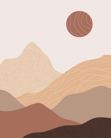 Vector abstract contemporary aesthetic background landscape with mountains, sunset, sunrise. Boho wall textured print decor in flat style. Mid century modern minimalist art and design