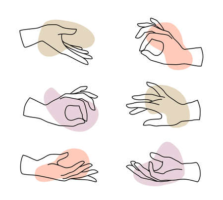 Vector set of female hand   in minimal linear style. Emblem design templates with different hand gestures isolated. For cosmetics, beauty, tattoo, spa, manicure, massage