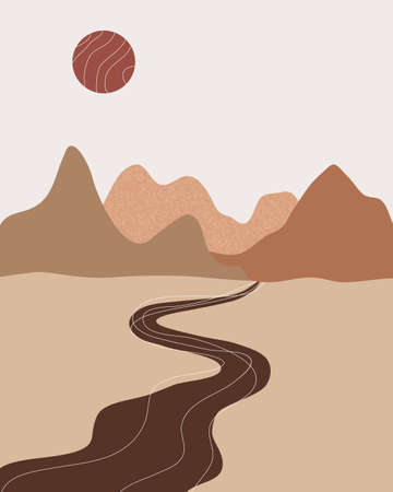 Vector abstract contemporary aesthetic background landscape with mountains, sunset, road, sunrise. Boho wall textured print decor in flat style. Mid century modern minimalist art and design