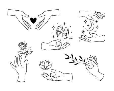 Vector set of female hand l icons in minimal linear style. Emblem design templates with hand gestures, rose, lotus, heart, moon and crystals for cosmetics, manicure, beauty, tattoo, spa, jewelry store